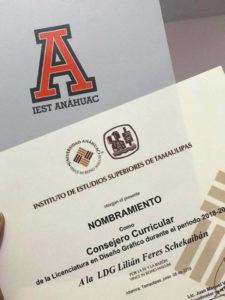 Nombramiento Lilián Féres consejera curricular diseño gráfico IEST