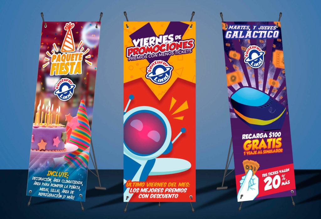 Diseño de banners publicitarios para punto de venta Venturer Land