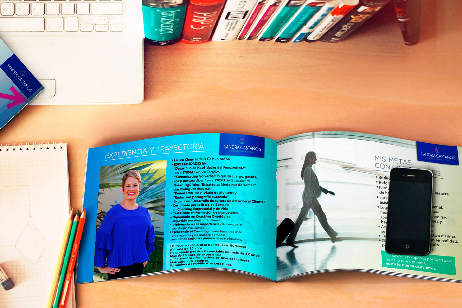 Diseño de book para Sandra Castaños coach empresarial y de vida