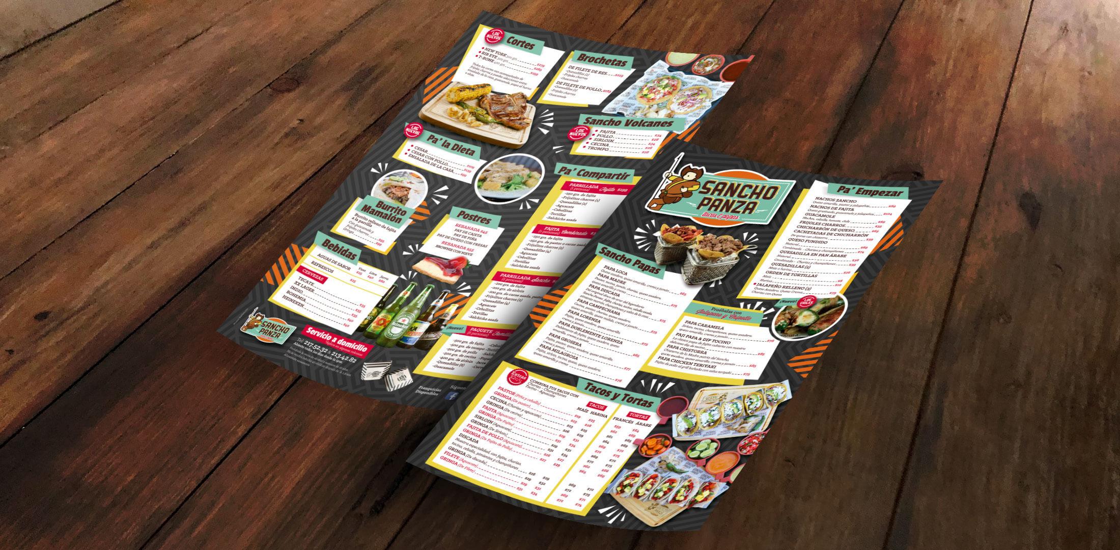 Diseño de Menú para Restaurante Tampico Sancho Panza - Lilian Feres
