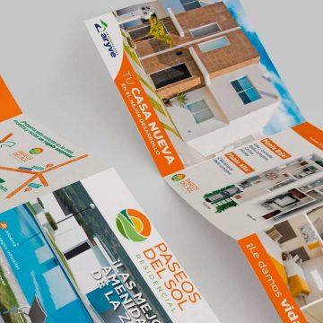 Diseño de publicidad para impulso de marca: Diseño de folleto, volantes y módulo para Paseos del Sol.