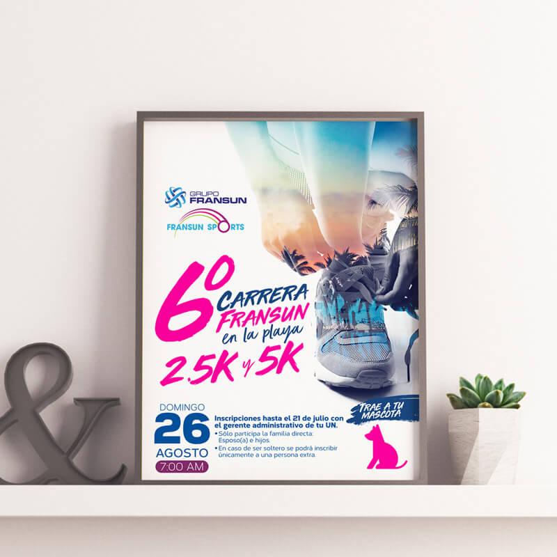 Diseño de publicidad - Póster 6° Carrera Grupo Fransun - Lilian Feres