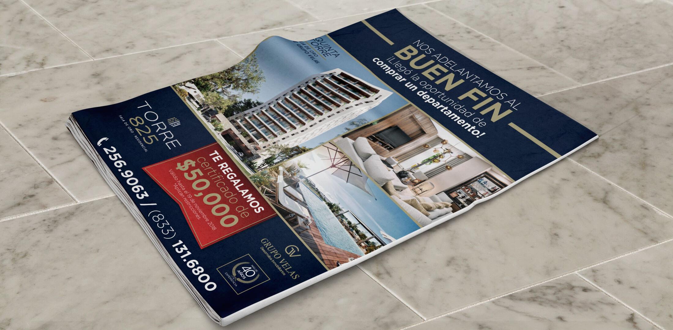 Diseño de anuncio de prensa Torre 825 Grupo Velas