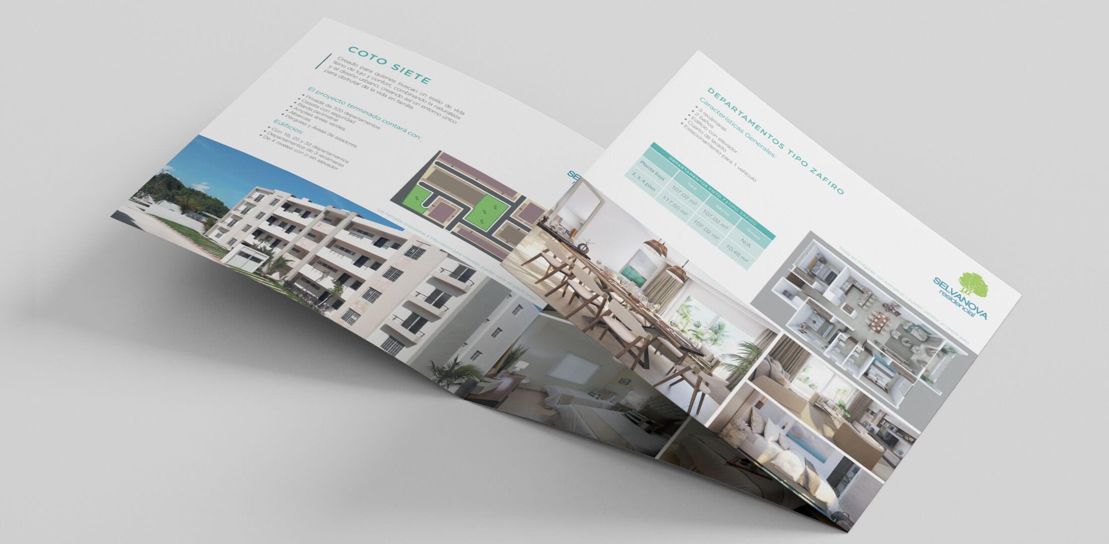 Diseño de folleto Selvanova Residencial Grupo Velas Playa del Carmen