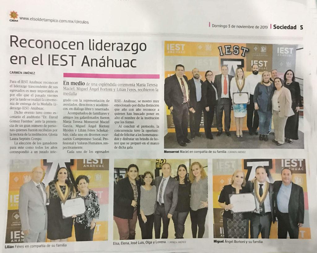 Nota Periódico El Sol De Tampico Reconocen liderazgo en el IEST ANAHUAC Lilian Feres Diseño Grafico