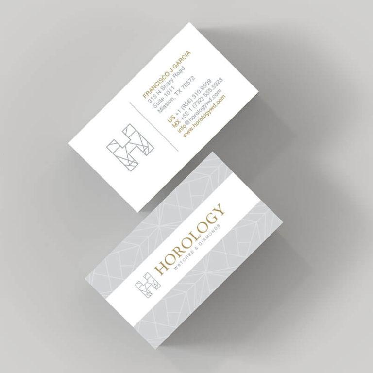 Diseño de Tarjetas de Presentación para Joyería Horology Watches and Diamonds Mcallen Texas