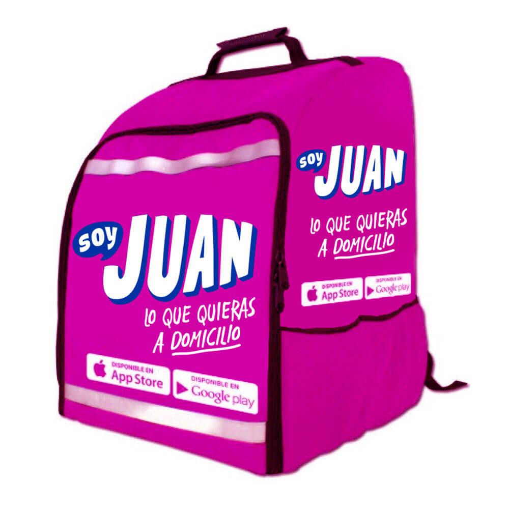 Diseño de logotipo app soy Juan mochila rosa - Lilian Feres Agencia Creativa