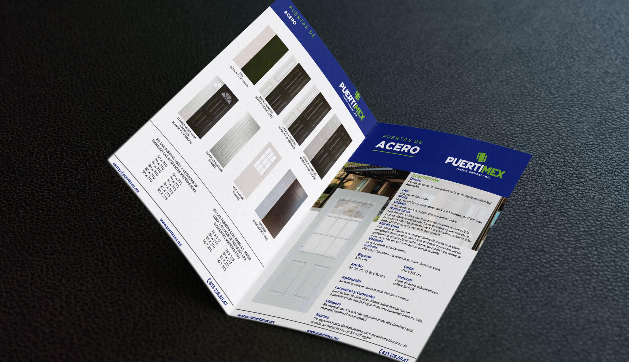 Diseño de catálogo de productos puertas Puertimex - Lilián Féres Agencia Creativa