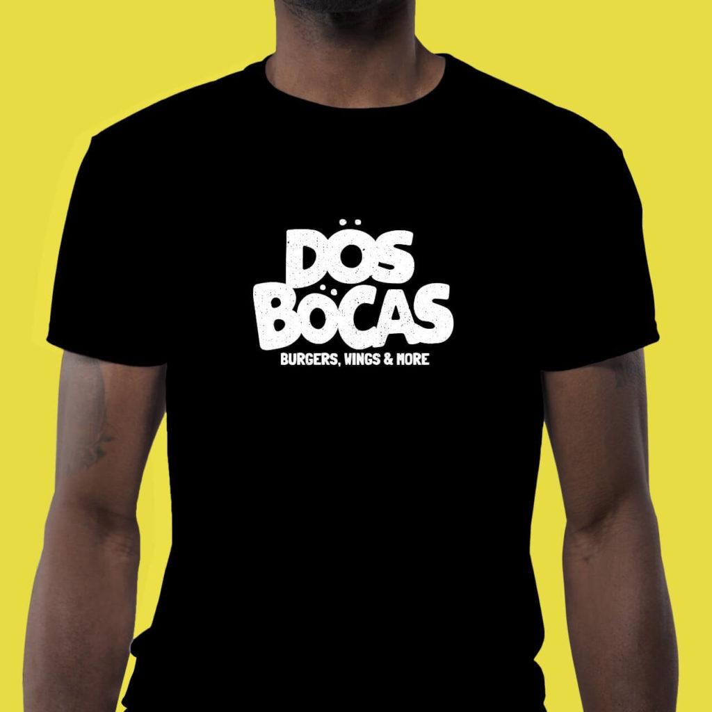 Diseño de Logotipo Aplicacion en Playera Hamburguesas Dos Bocas - diseño bolsa empaque Lilian Feres Agencia Creativa Tampico