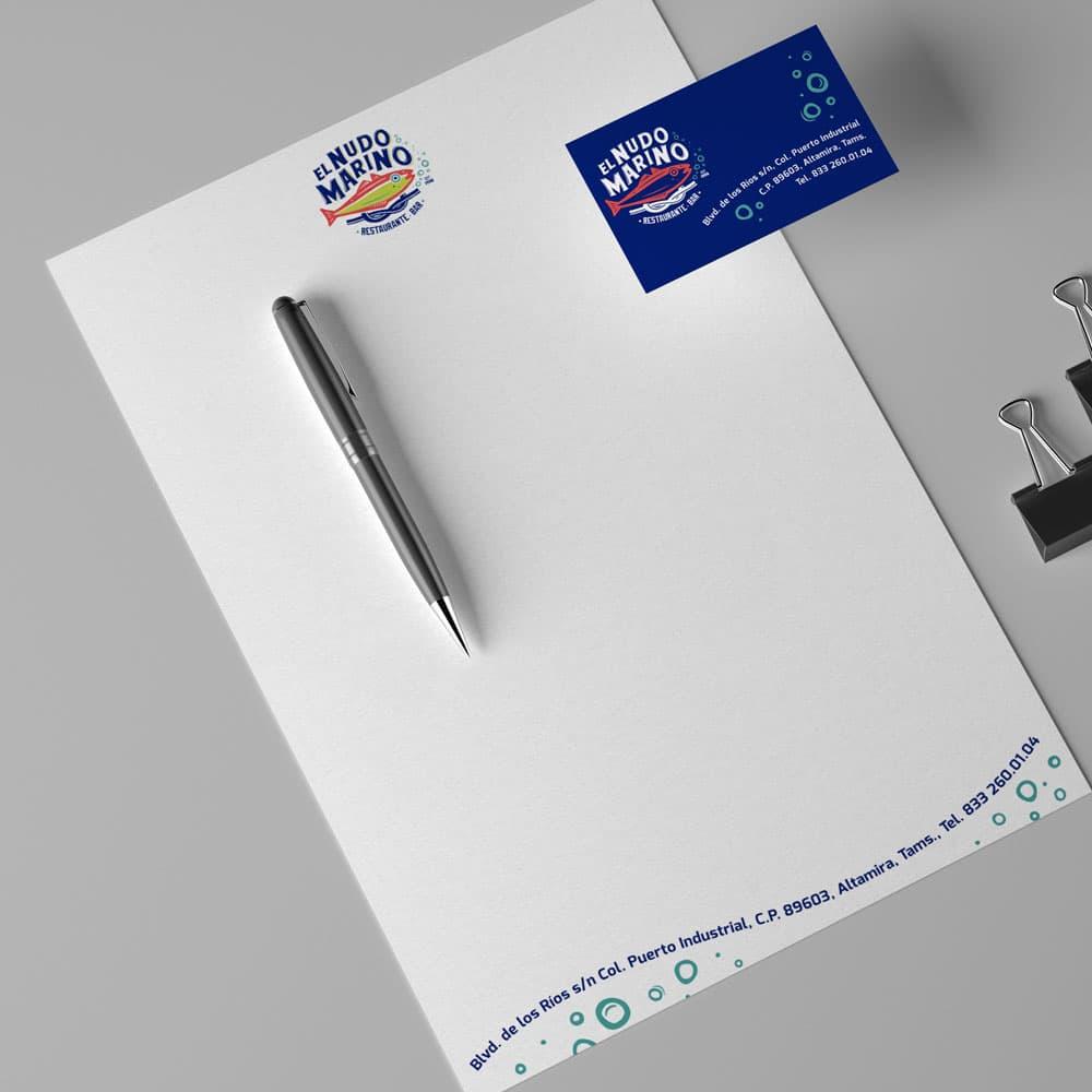 Diseño de Logotipo, Hoja Membretada, Tarjeta de Presentacion, Papeleria,Manual de Identidad Corporativa Restaurante Bar Altamira Tamaulipas El Nudo Marino, Lilian Feres Agencia Creativa