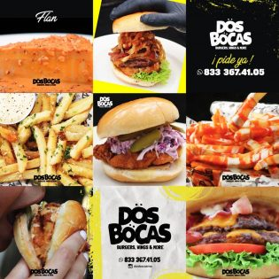 Diseño de Grid de Instagram Dos Bocas Burgers, Wings and More Lilian Feres Agencia Creativa